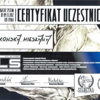 Certyfikat uczestnictwa w szkoleniu BLS