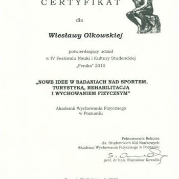 Certyfikat z konferencji Feniks badania nad sportem