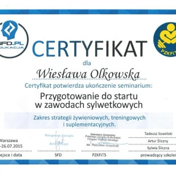 Certyfikat sfd pzkfits przygotowanie w zawodach sylwetkowych
