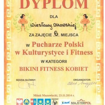 Dyplom z zawodów - Puchar Polski Kulturystyka Fitness