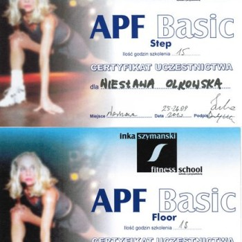 Dyplom Inka Szymanski szkolenie apf basic