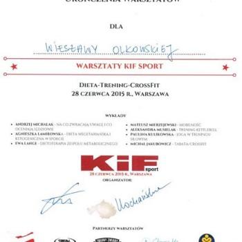 Certyfikat z szkolenia kif dieta trening crossfit kif