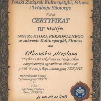 Certyfikat Instruktora Personalnego w zakresie kulturystyki i fitness