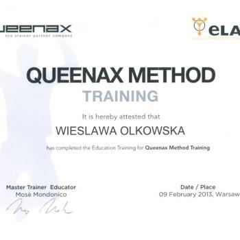 Cestyfikat z szkolenia queenax